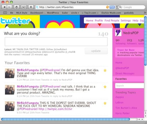 A screen shot from twitter